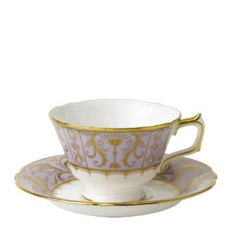 Royal Crown Derby Darley Abbey Lavender Harlequin Cup & Saucer